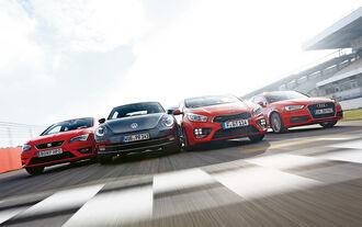 Audi A3 1.8 TFSI, Kia Procee'd GT, Seat Leon SC 1.8 TSI, VW Beetle 2.0 TSI, Frontansicht