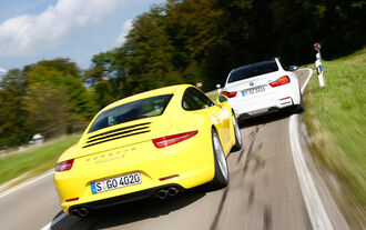 BMW M4, Porsche 911 Carrera S, Rear view