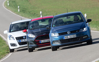 Ford Fiesta Black Edition, Suzuki Swift Sport, VW Polo Blue GT, Frontansicht