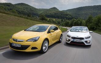 Kia Pro Cee'd GT Track, Opel Astra GTC 1.6 Turbo, Frontansicht