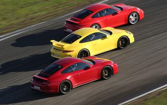 Porsche 911 Carrera S, 911 Carerra GTS, 911 GT3, Seitenansicht