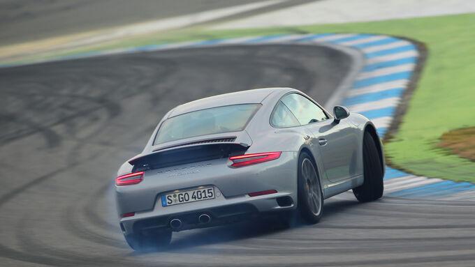 Porsche 911 Carrera S, Heckansicht, Driften
