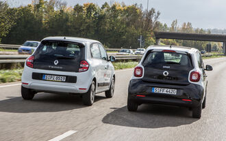 Renault Twingo SCe 70 Energy, Smart Forfour 1.0, Heckansicht